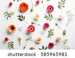 Stock photo flat lay of fresh flowers on white background 585965981
