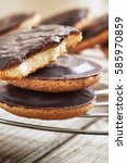 delicious jaffa cakes  biscuits ... | Shutterstock . vector #585970859