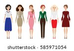 set of woman dress code flat...   Shutterstock .eps vector #585971054
