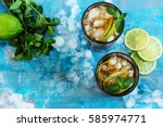 summer cuba libre cocktail with ... | Shutterstock . vector #585974771