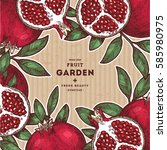 pomegranate fruit vintage... | Shutterstock .eps vector #585980975