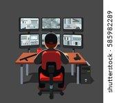 black uniform watchman or guard ... | Shutterstock .eps vector #585982289