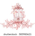 opened bird cage among blooming ... | Shutterstock . vector #585983621