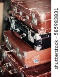 retro bags old suitcases vintage   Shutterstock . vector #585983831