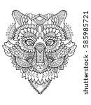 fox head coloring book hand... | Shutterstock . vector #585985721