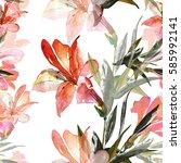 lily  seamless pattern | Shutterstock . vector #585992141