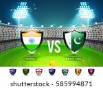 cricket match participating... | Shutterstock .eps vector #585994871
