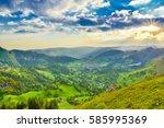 sunrise rural landscape ...   Shutterstock . vector #585995369