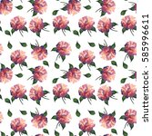 seamless pattern of roses on... | Shutterstock . vector #585996611