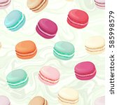 realistic macaroons colorful... | Shutterstock . vector #585998579