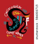 california surf  crazy waves t... | Shutterstock .eps vector #586003715
