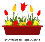 Vector Tulips And Easter Eggs...