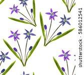 bluebell  scilla  primroses.... | Shutterstock . vector #586012541
