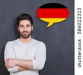 man learn speaking german in... | Shutterstock . vector #586022315