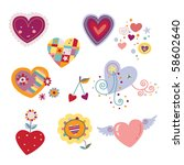 collection of decorative hearts. | Shutterstock .eps vector #58602640