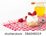 overnight oatmeal with yogurt... | Shutterstock . vector #586048319