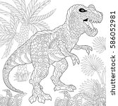 stylized tyrannosaurus  t rex ... | Shutterstock .eps vector #586052981