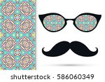 retro hipster sunglasses and... | Shutterstock .eps vector #586060349