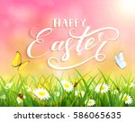 pink nature easter background... | Shutterstock .eps vector #586065635