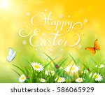 easter theme with a butterfly... | Shutterstock .eps vector #586065929