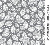 mint leaf pattern. peppermint... | Shutterstock .eps vector #586074161
