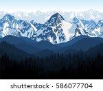 vector himalaya alps morning... | Shutterstock .eps vector #586077704