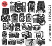 hand drawing retro photo... | Shutterstock .eps vector #586081325