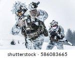 winter arctic mountains warfare.... | Shutterstock . vector #586083665
