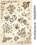 old grunge paper with floral... | Shutterstock . vector #58608394