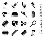 hairdresser icons set. dryer ... | Shutterstock .eps vector #586085615