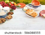 healthy continental  breakfast... | Shutterstock . vector #586088555