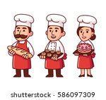 cartoon baker characters set in ... | Shutterstock .eps vector #586097309
