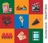 cinema set flat icon. vector... | Shutterstock .eps vector #586097864
