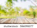 empty wooden table with garden... | Shutterstock . vector #586098377