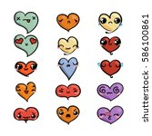 set of cute lovely emoticons.... | Shutterstock . vector #586100861