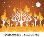burning forest trees in fire... | Shutterstock .eps vector #586108751
