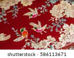 lacquer ware inlaid with mother ... | Shutterstock . vector #586113671