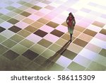 business woman standing on the... | Shutterstock . vector #586115309