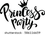 princess party lettering design | Shutterstock .eps vector #586116659