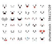 set of cute lovely kawaii... | Shutterstock . vector #586117109