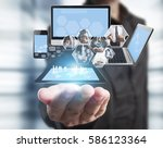 technology in the hands of... | Shutterstock . vector #586123364
