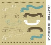 10 hand drawn banners on... | Shutterstock .eps vector #586123454
