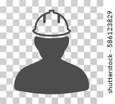 person in hardhat vector icon.... | Shutterstock .eps vector #586123829