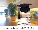 big blurry college hall with... | Shutterstock . vector #586125755