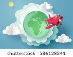paper art of red plane flying... | Shutterstock .eps vector #586128341