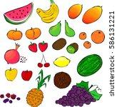 different types of fruit ... | Shutterstock .eps vector #586131221