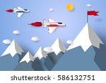 race concept   jet plane flying ... | Shutterstock .eps vector #586132751