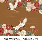 cranes and chrysanthemums... | Shutterstock .eps vector #586135274