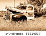 Old Rusty Red Farm Truck Fadin...