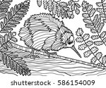 coloring book for adults.... | Shutterstock .eps vector #586154009
